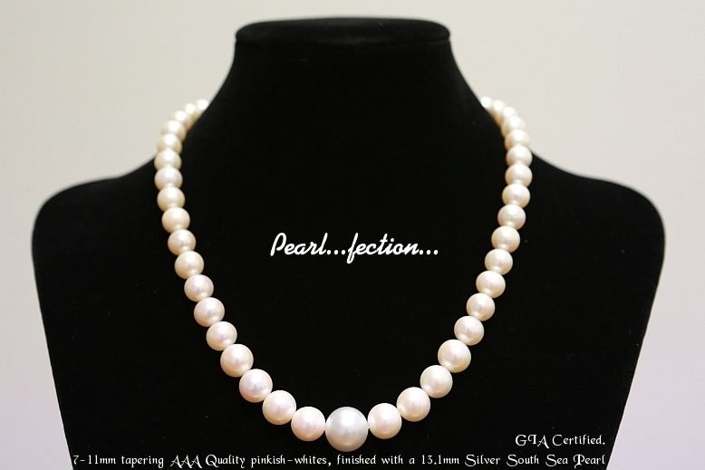 Pinkish White AAA finished with 13.1 South Sea Pearl
